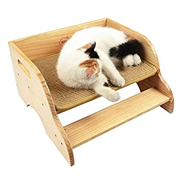 Petacc Cama de madera para gatos Sisal Pet Step House Cat Scratching Lounge Scratcher de mascotas ensamblado con patrón de escalera de dos pisos, ...