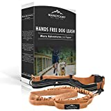 Hands Free Dog Leash for Running, Hiking, Camping with Double Handles, Adjustable Waist Pouch, Retractable & Reflective Bungee Leash for Medium - Large Dogs by MANLYCAMP