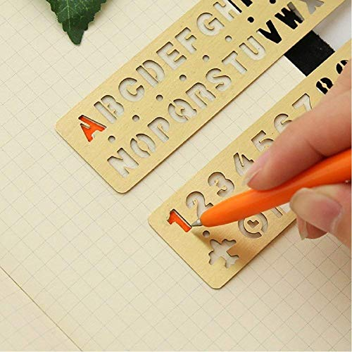 Trycooling 6 In 1 Stainless Steel Portable Drawing Graffiti Web UI/IOS/Number Alphabet/Vintage Brass Alphabet & Number Template Ruler Stencils by Trycooling (Image #3)