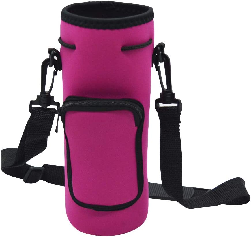 Orchidtent 40oz Neoprene Water Bottle Carrier Bag Pouch Cover, Insulated Water Bottle Holder Adjustable Padded Shoulder Strap - Great for Stainless Steel, Glass, or Plastic Bottles by Hydro Flask
