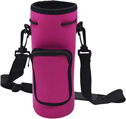 Water Bottle Neoprene Shoulder Strap Bottle Carrier Insulated Bag Cover Pouch