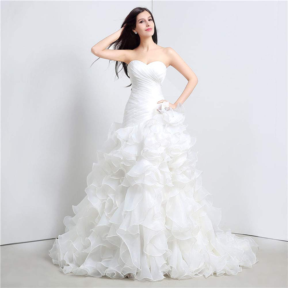 Women's Wedding Lace Strapless Elegant Temperament Princess Wedding Dress Adult Dress Evening Dress,US10