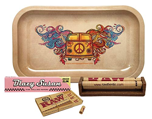 Blazy Susan Pink King Size Slim Rolling Paper with RAW Pre Rolled Tips, 110mm Cigarette Roller, and Rolling Paper Depot Rolling Tray (Hippie Van) - 4 Item Bundle