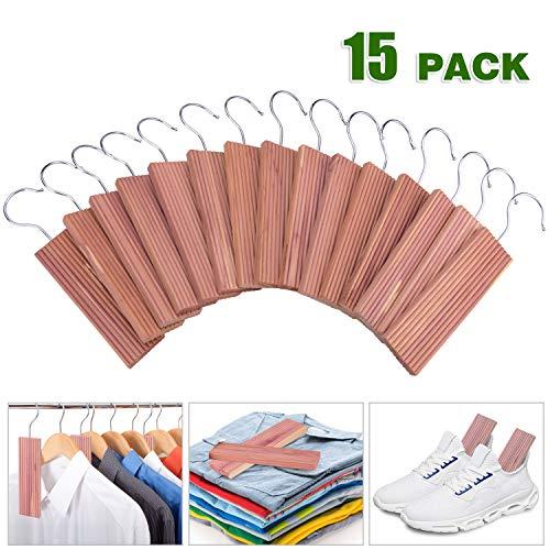 ACMETOP 15 Pack Cedar Hang Ups, 100% Natural Cedar Blocks for Clothes Storage, Aromatic Cedar Balls Hangers, Storage Accessories Closets & Drawers