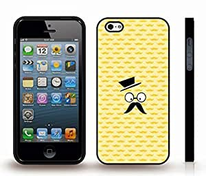 Case For Ipod Touch 4 Cover with Surprised Mustache Face, Funny Design on Yellow Mustache Pattern Background , Snap-on Cover, Hard Carrying Case (Black)
