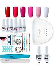 Gel Nail Polish Starter Kit, Speed Curing 48W Professional LED lamp Base Top Coat Set & 6 Colors, Manicure Tools Popular Nail Art Designs by Vishine #15