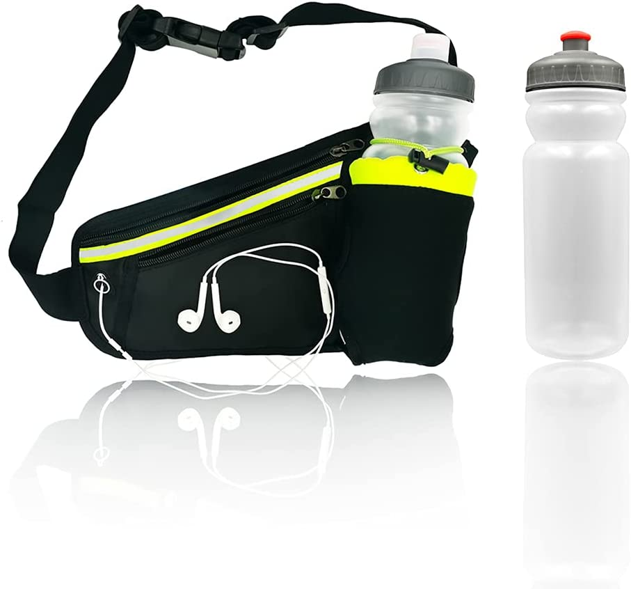 Running Belt Hydration Waist Pack with Water Bottle Holder (Bottle Included), Waist Pouch Fanny Pack Bag for Women and Men Running Phone Holder for All Kinds of Phones Money Key