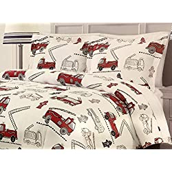 Boys' Red Fire Engine Comforter Set by Rugged Bear | All Season Full/Queen 3 Piece Set | TOO CUTE!!
