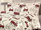 Boys' Red Fire Engine, Fire Truck Comforter Set by Rugged Bear | All Season TWIN 2-Piece Set | TOO CUTE!!
