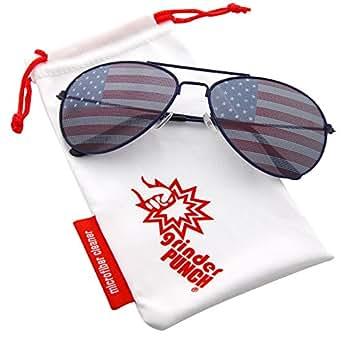grinderPUNCH American Flag Aviator Sunglasses Glasses Blue Color