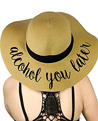 C.C Women's Paper Weaved Crushable Beach Embroidered Quote Floppy Brim Sun Hat, Alcohol You Later