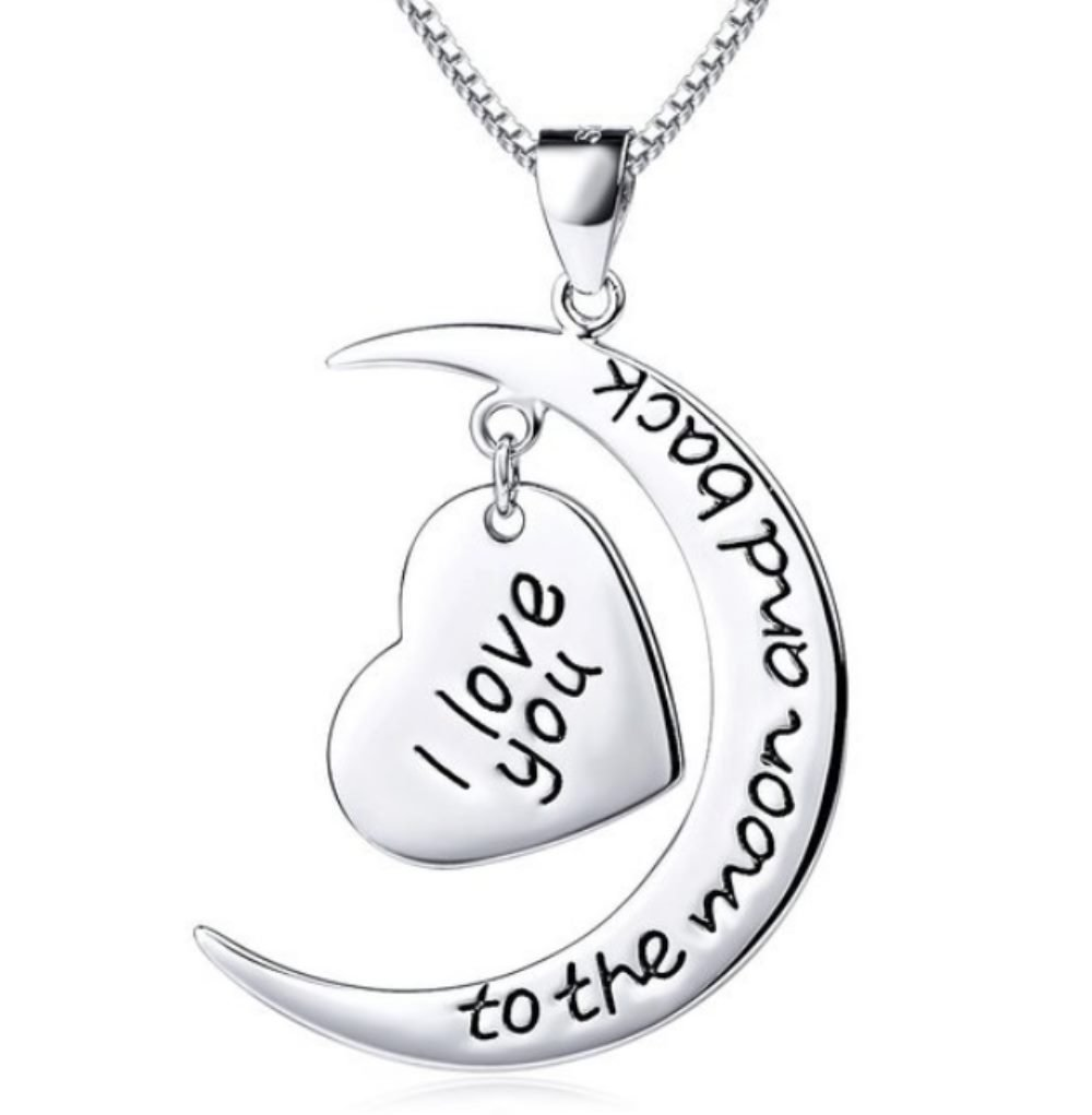 Truly Charming 925 Sterling Silver I Love You To The Moon And Back 2 Piece Pendant Necklace 18'' Chain Gift Boxed by Truly Charming (Image #1)