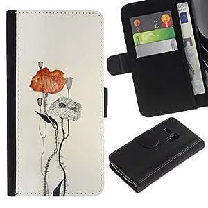 Paccase / Billetera de Cuero Caso del tirón Titular de la tarjeta Carcasa Funda para - poppy flower paper watercolor art - Samsung Galaxy S3 MINI NOT REGULAR! I8190 I8190N