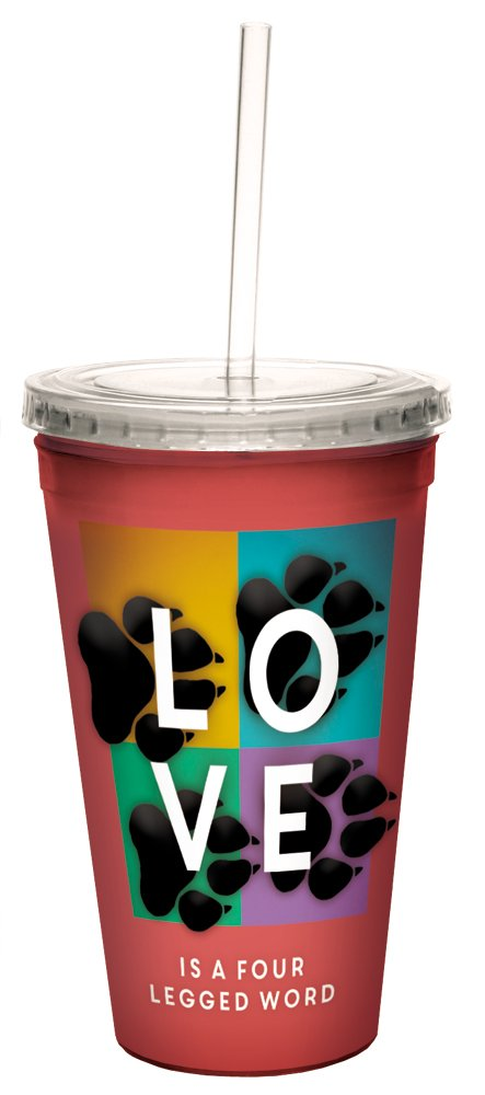 Tree-Free Greetings 98173 Angi and Silas Four Legged Word Double-Walled Cool Cup with Reusable Straw, 16-Ounce