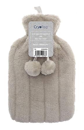 Bolsa de agua caliente - Funda de suave piel sintética - Marrón/tostado - 2 litros