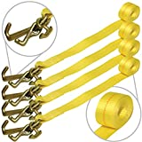 Vulcan Classic Auto Tie Down Replacement Strap with Universal Frame Hook Cluster - 3300 lbs. SWL (96'' - Pack of 4)