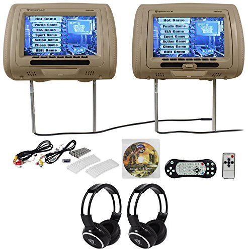 Rockville RDP931-BG 9 Beige Car DVD/HDMI Headrest Monitors+2 Wireless Headsets (Car Headrest Dvd Player Beige compare prices)