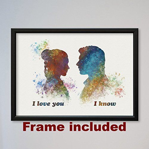 Star Wars Han Solo and Leia I love you I know 9 x 12 3/8 inches Framed Poster]()