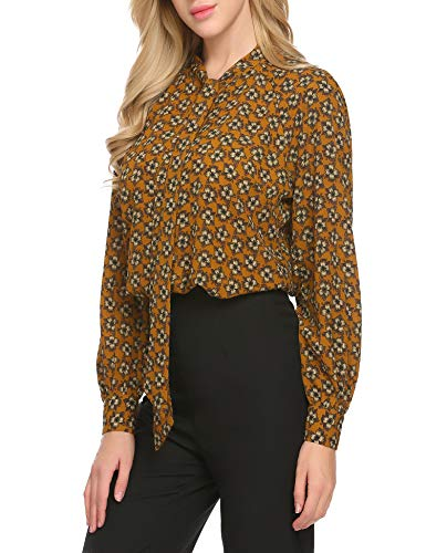 (ACEVOG Women's Bow Tie Neck Long Sleeve Shirt Blouse Tops,Pattern,XX-Large)