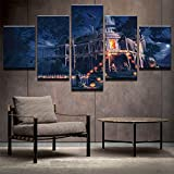 PEACOCK JEWELS [LARGE] Premium Quality Canvas Printed Wall Art Poster 5 Pieces/5 Pannel Wall Decor Haunted Manor Painting, Home Decor Pictures - Stretched