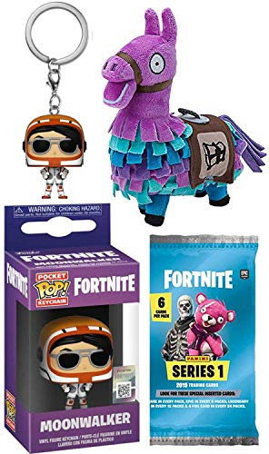 Fortnite Moon Gamer Series Moonwalker Mini Figure Backpack Hanger Pop! Keychain Bundled Trading Action Cards Pack & Purple Llama Plush Gear 3 Items ()