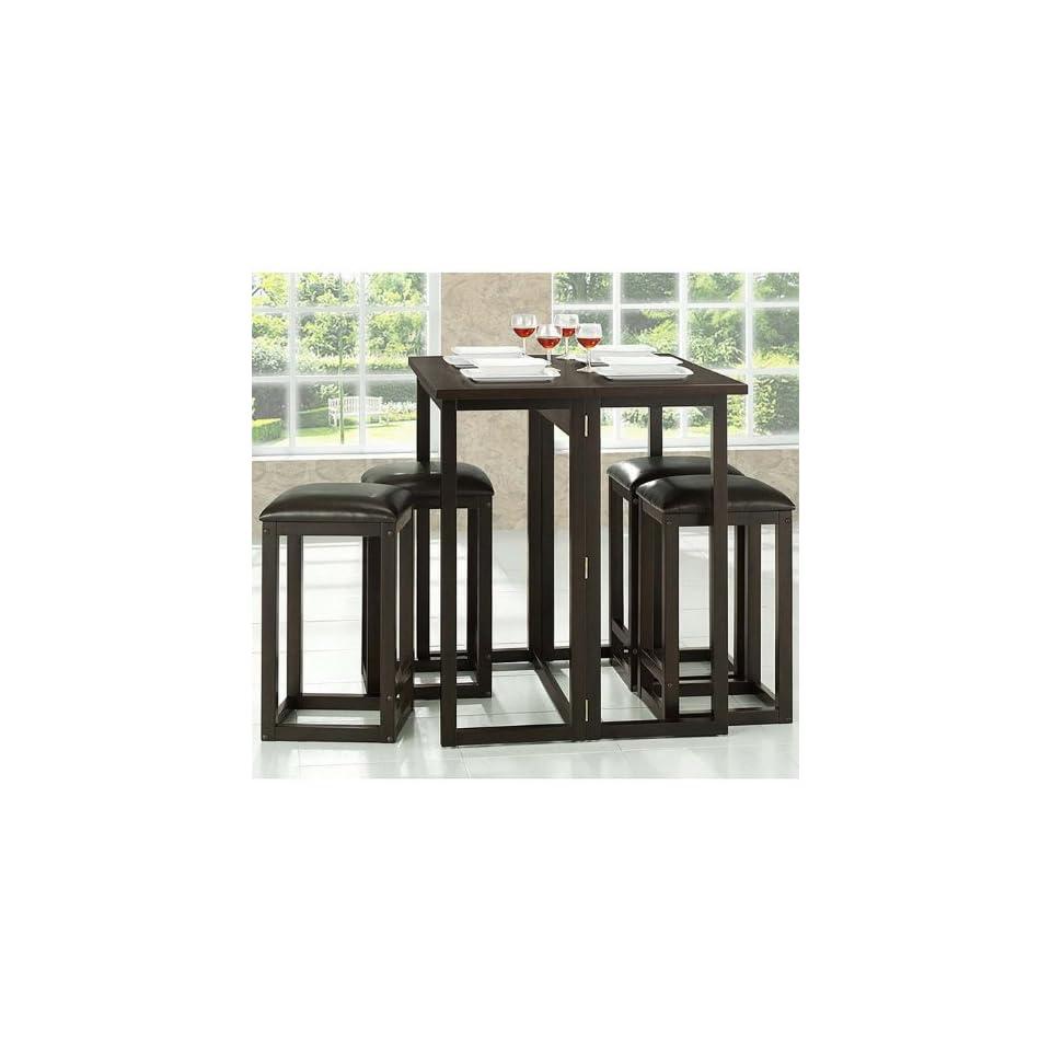 Baxton Studio Leeds 5 Piece Wood Collapsible Pub Table Set, Brown