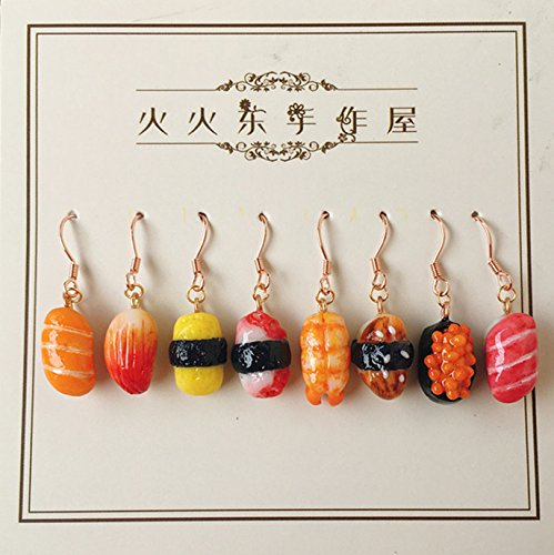 Simulation handmade Jaese sushi snack 925 silver earrings ear clip fresh and lovely Jaese soft sister Harmonie wild