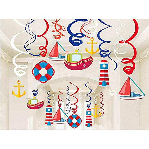 Nautical Hanging Swirl Decorations, Birthday Ceiling Streamers, Baby Shower Theme, Sailor Party Supplies, Cruise Kids Favors, Anchor Sailboat Yacht -