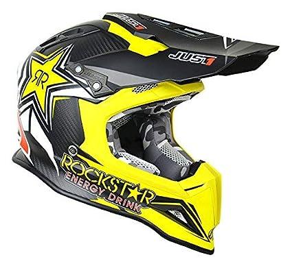 22fb026e Amazon.com: Just 1 Unisex-Adult Off Road Carbon Fiber Shell Motorcross  Motorcycle Helmet (J12 Unit) (Flack Black Trans Rockstar, Medium: Automotive