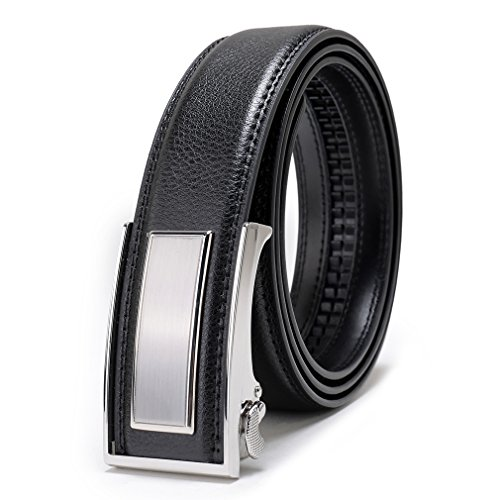 [Beltox Fine Men's Dress Leather Ratchet Belt with Nickel-free Automatic Buckle (52-54, silver buckle)] (Silver 52 Tooth)