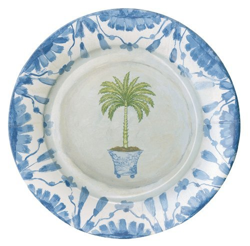 Paper Plates Dinner Size Paper Party Supplies Potted Palms Pack of 16, 10.75