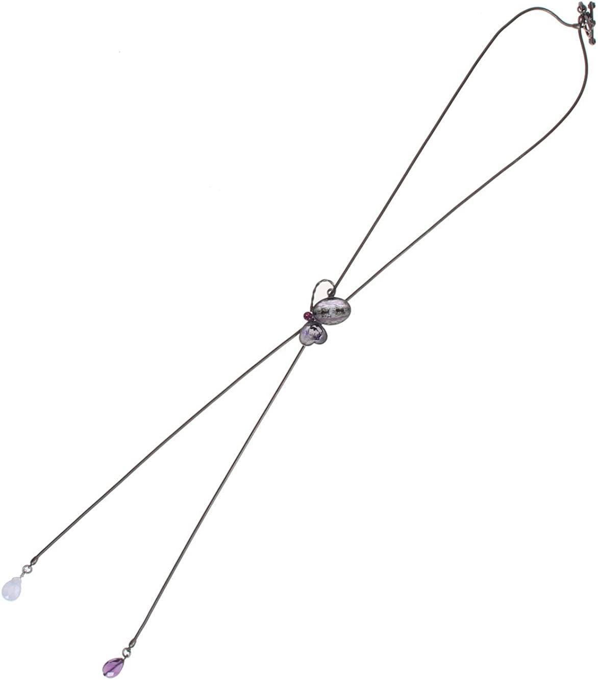 TAMARUSAN Bolo Tie Necklace Butterfly Purple Amethyst Blue Race Nickel Free Lily Tiger Beetle