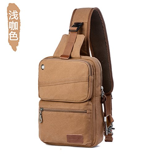 Tide caffè Caffè MSZYZ Uomo Single Bag Colore Colore Satchel Pacchetto petto Leisure Holiday Gifts Canvas Large Capacity Bag Shoulder rxZq6Urp