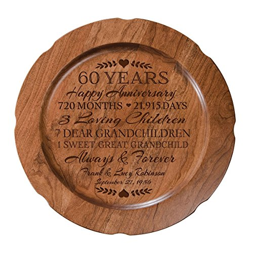 """LifeSong Milestones Personalized 60th Wedding Anniversary Plate Gift for Couple, Custom Happy Sixtieth for Her, 12"""" D Custom Engraved for Husband or Wife USA Made (Special Dates)"""