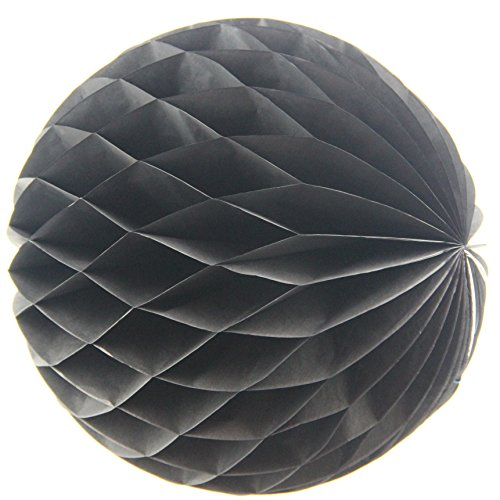 [UMISS DECOR Black Honeycomb Balls Decorations for Halloween Party Favor in 12