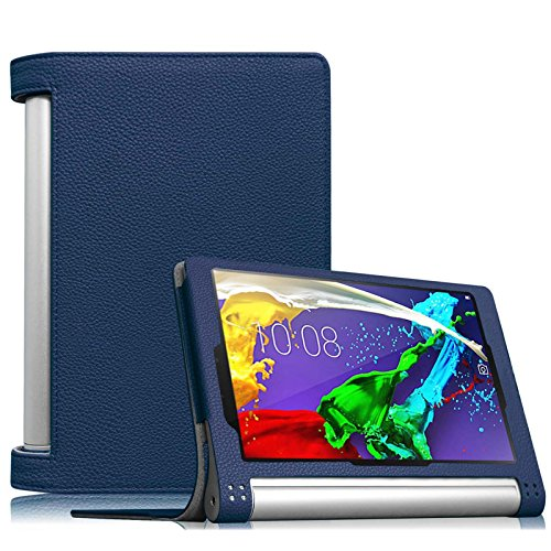 Fintie Lenovo Yoga Tablet 2 (8 Zoll) Hülle Case Cover Tasche Etui - Folio Kunstleder Schutzhülle mit Auto Sleep / Wake (geeignet für Lenovo Yoga Tablet 2-8 20,32 cm 8.0 Zoll Tablet-PC Android und Windows Version), Marineblau