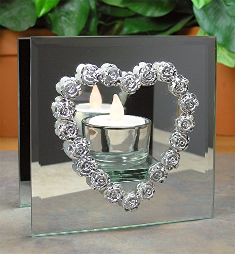 Heart Mirrored LED Infinity Candle Holder - Silver Roses and Hearts - Includes a LED White Tealight Glass Love Heart Tealight Holder