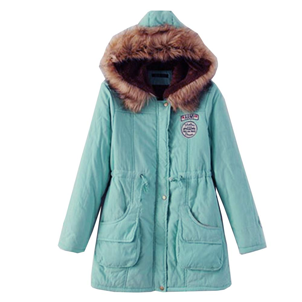 SOMTHRON Women's Oversize Hooded Winter Parka Coat Fur Quilted Puffer Jacket Hoodies