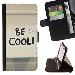 - Be Cool Happy Smiley/ Personalizada del estilo del dise???¡¯???¡Ào de la PU Caso de encargo del cuero del tir???¡¯????n del s - Cao - For Samsung Galaxy