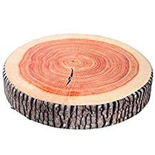 YunNasi Round Wood Tree Soft Plush Chair Seat Cushion Stump Shaped Pillow (Ginkgo Tree Cushion)