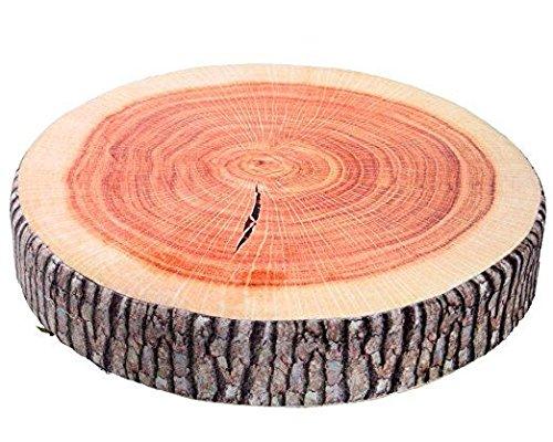 YunNasi Round Wood Tree Soft Plush Chair Seat Cushion Stump Shaped Pillow (Ginkgo Tree Cushion)