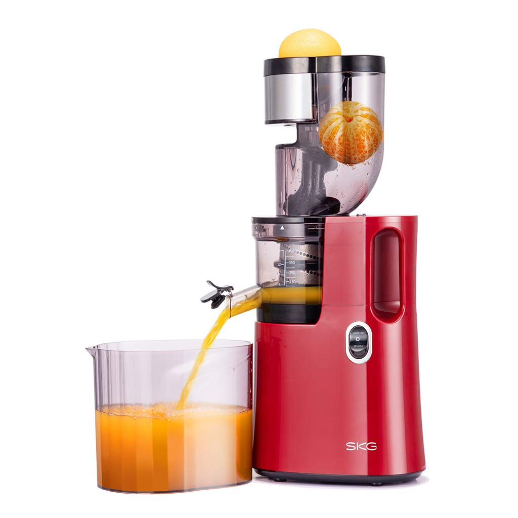 SKG Q8 Wide Chute Slow Masticating Juicer, 45 RPM Quiet Motor and Reverse Function, Cold Press Juicing Machine for Fruits and Vegetables, BPA Free Juice Extractor, Red
