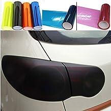 fangfei 12 48 inches Self Adhesive Auto Car Tint Headlight Taillight Fog Light Vinyl Smoke Film Sheet Sticker Cover (Black)