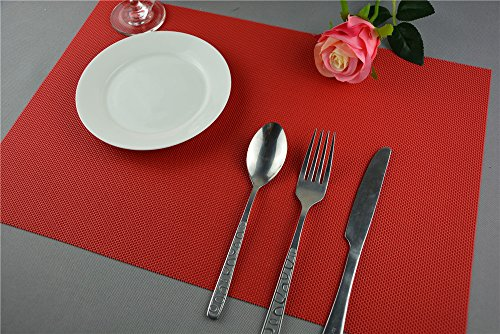 Kitchen Talents High Quality Simple Style PVC Placemat Heat Insulation Table Mat Protector Anti-skidding,Set of 6 Pcs (Red)