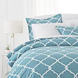 Pinzon 300-Thread-Count 100% Cotton Cool Percale Duvet Cover Set, Twin, Spa Blue