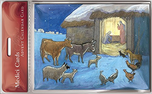 Advent Christmas card with 24 Doors and White Mailing Envelope Animal Nativity Scene Advent Card 5.5 x 8 inches Medici Cards ACM0028 Caltime