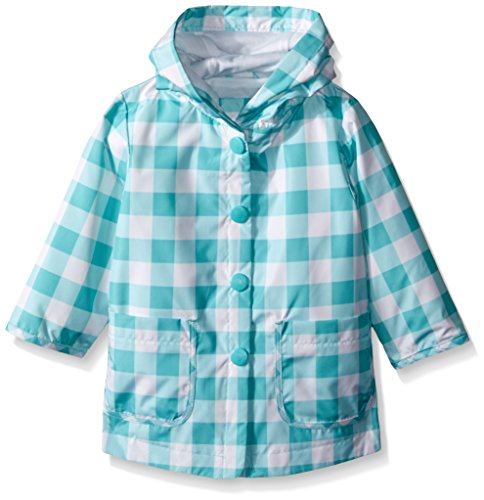 Carter's Baby Girls Printed Jersey Lined Rain Slicker, Green Plaid, 24 Months (Lined Raincoat Plaid)