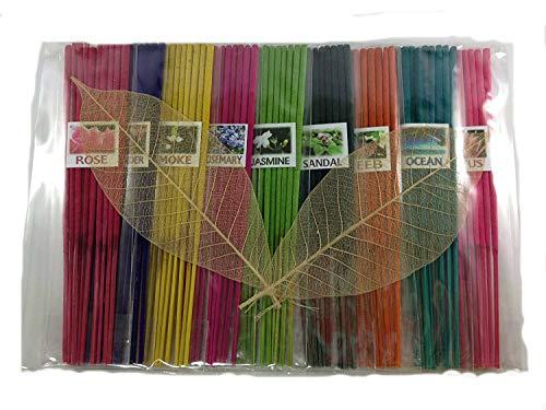 (Thai Incense Sticks with 9 Aroma Smell - Moke Rosemary Jasmine Sandal Lotus Ocean Rose Lavender Peeb)