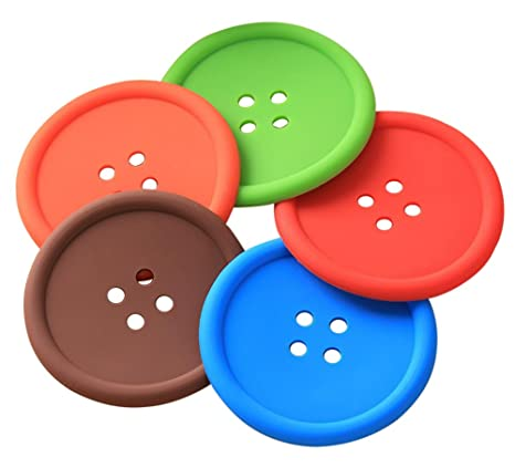 Drawihi Portavasos retro cojín para vasos soporte colorido de silicón portavasos de botón para colocar bebidas