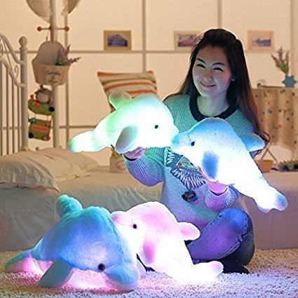 "18 "" Pink Sea Animal Plush Toys, Sparkling Dolphin Soft Toy"